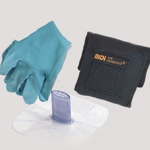 #70-185 MDI® CPR Microshield® Microholster® Emergency Rescue Breather With Gloves In Nylon Belt Holster