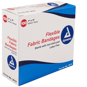 3612 Dynarex® 1` x 3` Sterile Cloth Fabric Adhesive Bandages - Bulk
