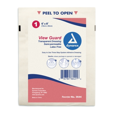 Dynarex® View Guard® Transparent Adhesive Bandage Sheets - 6` x 8`