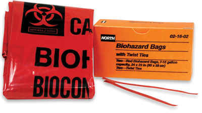 North® 24` X 23` 7 Gallon Red Biohazard Bag In Orange Box With Twist Ties, 021602 North® Biohazard Transport Bags - 7 Gallon
