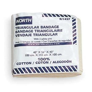 North® 40` X 56` X 40` Latex-Free Sterile Cotton Triangular Bandage (ANSI Approved) With 2 Safety Pins
