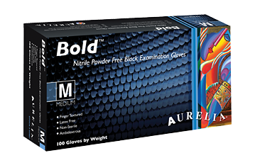Aurelia® Bold® Black Nitrile Powder-Free 5-mil Exam Gloves w/ Textured Fingertips