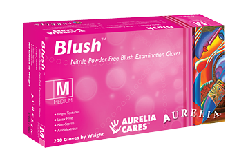 Aurelia® Blush® Magenta Nitrile Disposable 2.5-mil Powder-Free Exam Gloves