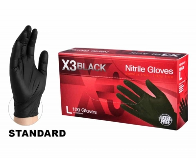 AMMEX X3 Black Powder-Free Industrial Nitrile Gloves