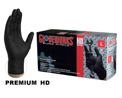AMMEX Gloveworks Heavy Duty Black Nitrile Gloves