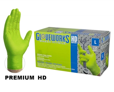Ammex Gloveworks Powder-Free HD Nitrile Industrial Neon Green Gloves