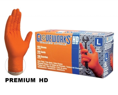 #GWON AMMEX Gloveworks Heavy Duty Diamond Grip Orange Nitrile Industrial Gloves