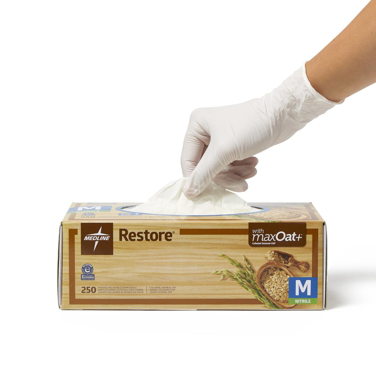 Restore Powder-Free Nitrile Exam Gloves with Oatmeal