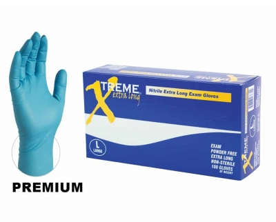AMMEX Xtreme Extra Long Powder-Free Nitrile Exam Gloves