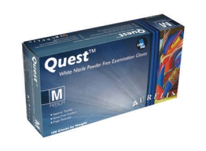 Aurelia® Quest™ Disposable Powder-Free Nitrile Exam Gloves, White