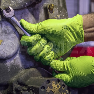 Ammex® GloveWorks® Heavy Duty Industrial Green Nitrile Gloves