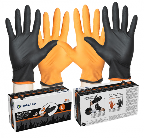Halyard® Black-Fire Reversable Nitrile Powder-Free Exam Gloves