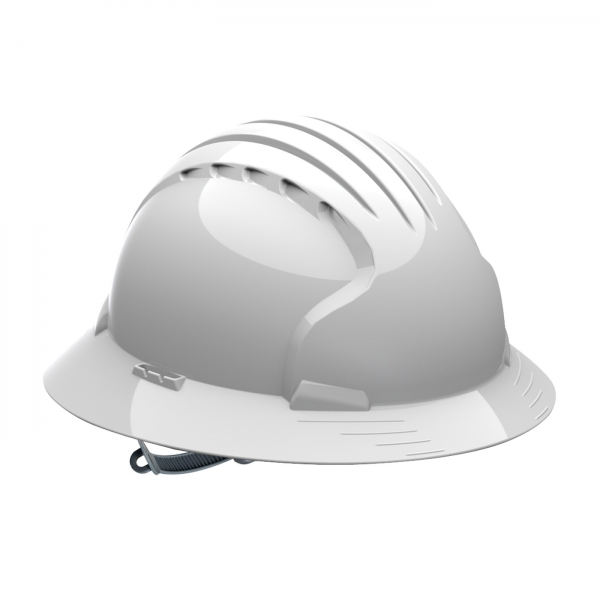280-EV6141 PIP® JSP® Evolution® Deluxe 6141 Full Brim Hard Hat with HDPE Shell, 6-Point Polyester Suspension and Slip Ratchet Adjustment: WHITE