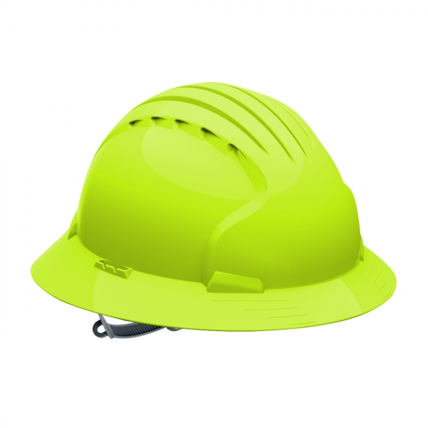 280-EV6141 PIP® JSP® Evolution® Deluxe 6141 Full Brim Hard Hat with HDPE Shell, 6-Point Polyester Suspension and Slip Ratchet Adjustment: BRIGHT LIME YELLOW