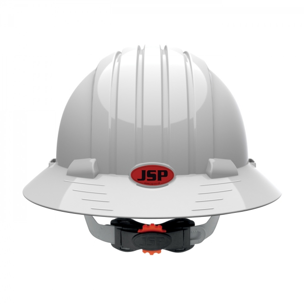 JSP® Evolution® Deluxe 6161 Full Brim Hard Hat with HDPE Shell, 6-Point Polyester Suspension and Wheel Ratchet Adjustment