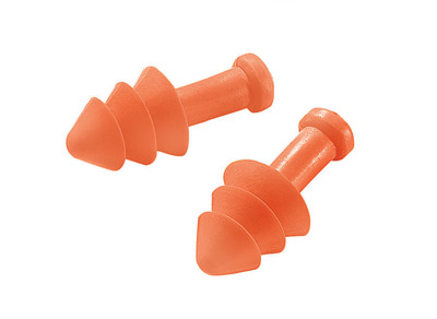 Multiple Use Triple Flange Orange Polyurethane And Foam Uncorded Earplugs