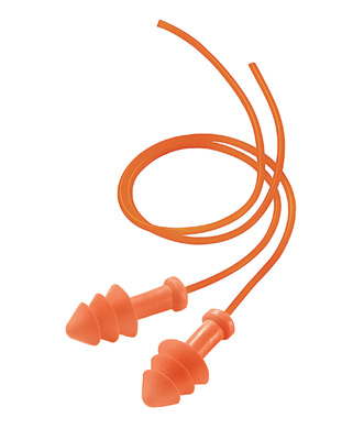 Multiple Use Triple Flange Orange Polyurethane And Foam Corded Earplugs