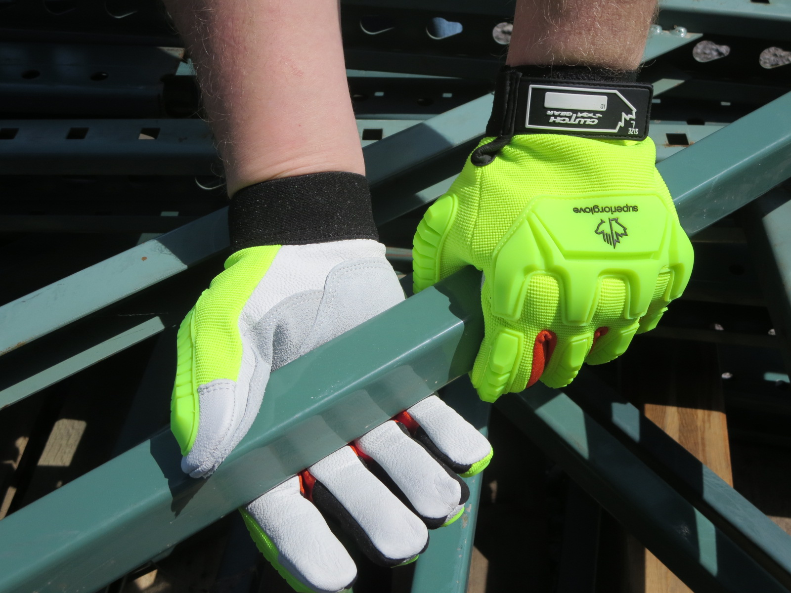 #MXGCEHVB Superior Glove® Clutch Gear® Hi-Viz Anti-Impact Goat-Grain Mechanics Glove