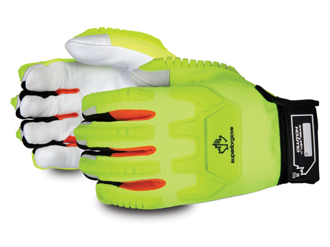 #MXGKGHVB - Superior Glove® Clutch Gear® Hi-Viz Anti-Impact Goat-Grain Palm Mechanics Gloves