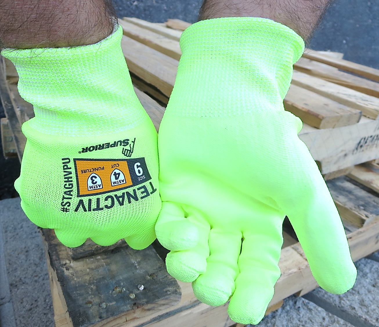 #S18TYAGGFN Superior Glove® TenActiv™ Hi-Viz Foam Nitrile Coated Gloves