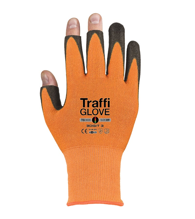 TG3020 TraffiGlove® 3 DIGIT 3 Cut Level A1 X-Dura PU Coated Open-Finger Gloves