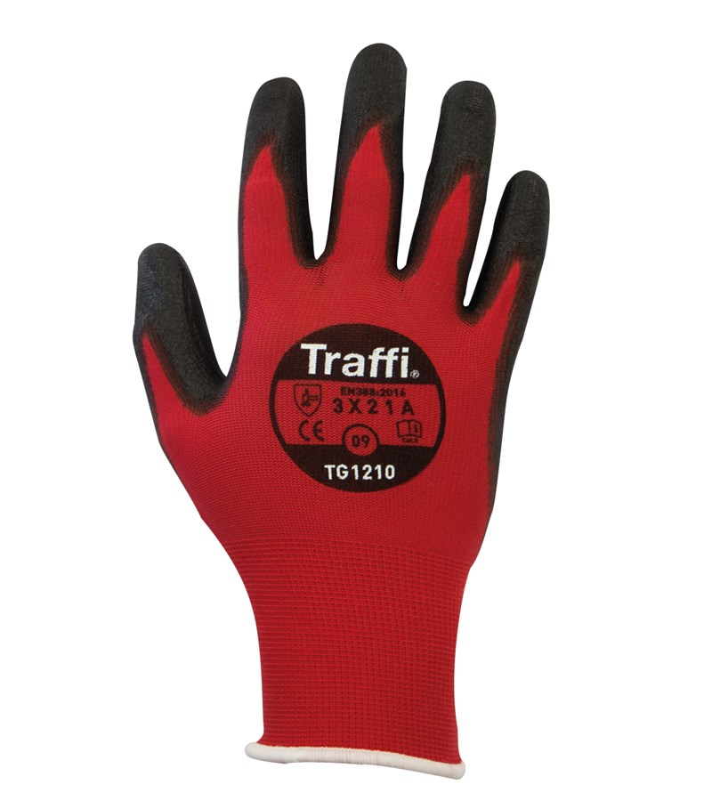 TG1210 TraffiGlove® PU Coated Red Nylon A1 Cut Safety Work Gloves
