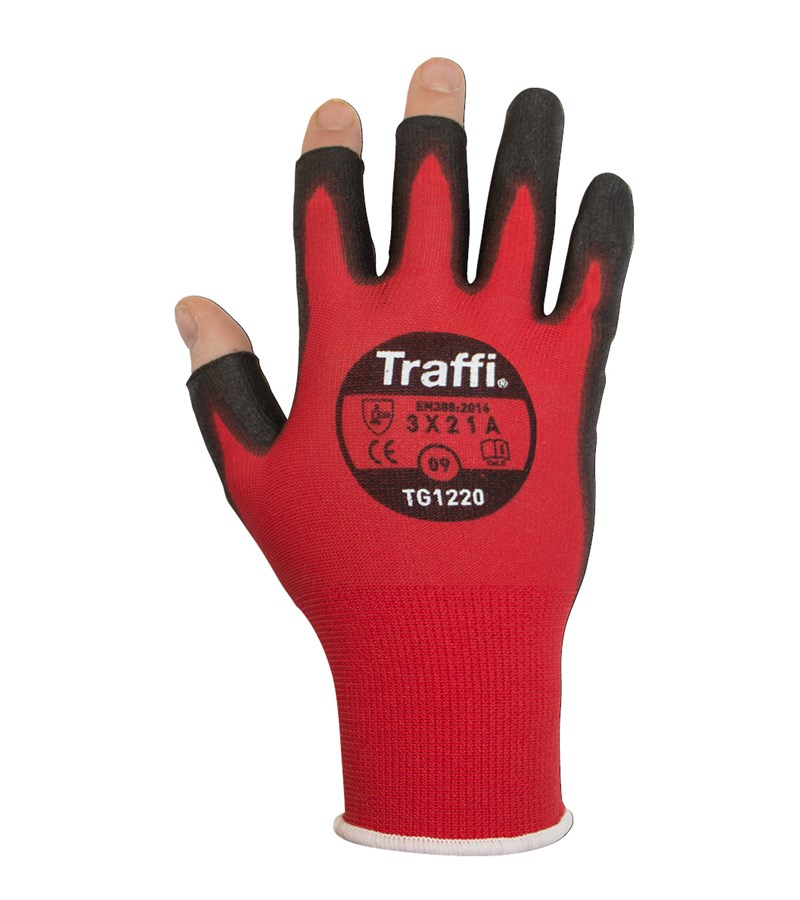 TG1220 TraffiGlove® PU Coated Open Finger Red Nylon A1 Cut Safety Work Gloves