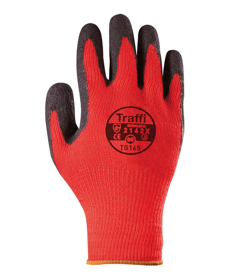 TG165 TraffiGlove® X-Dura Latex Coated Red Cotton/Poly Work Gloves