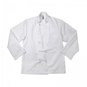 C108/CCDC Pinnacle Textile Men's White Chef Coat w/ 8 Button Closure