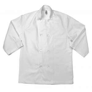 Male Double Breasted 3/4 Sleeve Chef Coat, CCHDC Pinnacle Textile 3/4 Sleeve Men's White Chef Coat w/ 10 Button Closure