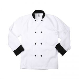 Male Double Breasted White Chef Coat with Black Trim, C825 Pinnacle Textile Men's White Chef Coat w/ Black Trim & Button Closure
