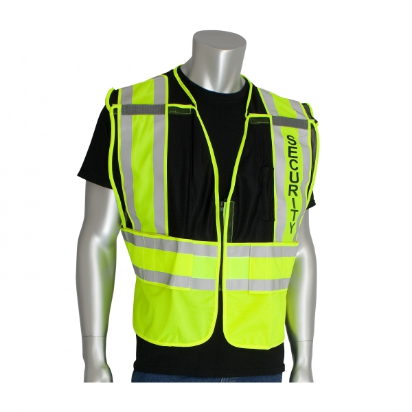 Protective Industrial Products® 207 Hi-Vis Public Safety Vest With Logo: BLACK-SECURITY