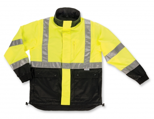 GloWear® 8360 Class 2 Reversible Work Jacket- Lime Front, 8360 Ergodyne® GloWear® Class 2 Reversible Work Jacket w/ 3M™ Scotchlite™ Material