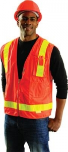 #OCCSSLSDZ OccuLux® L'Orange Mesh Safety Vest w/ 3M™ Scotchlite™ Reflective - Class R2