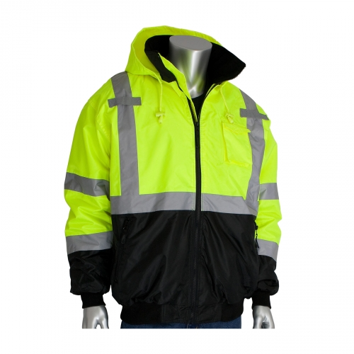 333-1766 PIP® ANSI Class 3 Value Black Bottom Bomber Jacket with Zip-Out Fleece Liner. High-Vis Yellow.