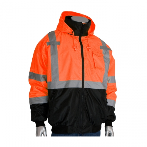 333-1766 PIP® ANSI Class 3 Value Black Bottom Bomber Jacket with Zip-Out Fleece Liner. High-Vis Orange.