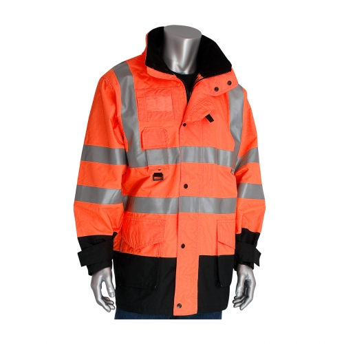 343-1756 PIP® Class 3 ANSI Type R 7-in-1 All Conditions Coats - Hi-Vis Orange