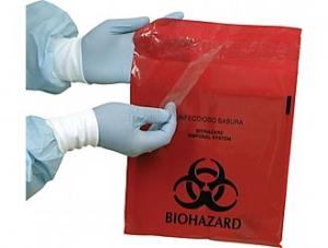 Bio Hazard Waste Bag w/ Adhesive Strip , P0850S Plasdent Adhesive Red Biohazard Chairside Bags - 6` x 6`