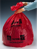 24` x 24` Biohazard Message Can Liners, MDS Economy Red Infectious Waste Can Liners - 23` x 24`