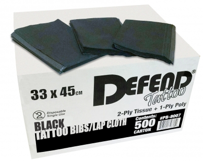 PB-8007 Defend® 2-Ply Tissue + 1-Ply Poly Black Tattoo Lap Cloths/Bibs