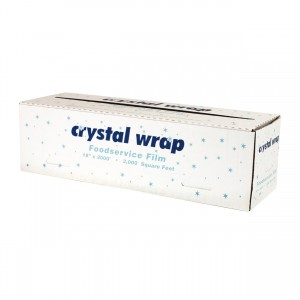 CrystalWrap Heavy Duty Blue Tinted 18` x 2000' Plastic Film with Cutter Dispenser Box