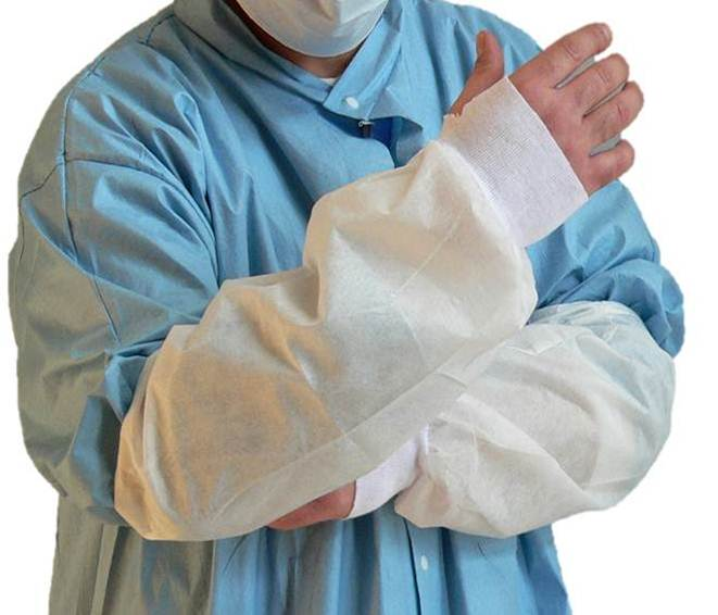 Disposable Microporous Sleeve Protectors with Knitted Thumb Loops