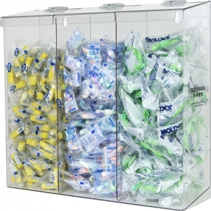 #BP-090 Clear PETG Plastic Top loading, top and bottom dispensing tall triple bulk dispenser