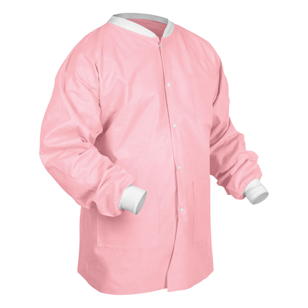 6200 Maytex® Disposable Pink SMS Protective Lab Jackets w/ Pockets & Knit Wrists