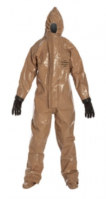 DuPont™ Tychem® Responder® CSM Coverall. Respirator Fit Hood. Attached Gloves, Butyl (mil spec.). Attached Socks with Outer Boot Flaps. Double Storm Flap with Hook & Loop Closure. Double Taped Seams. Tan.