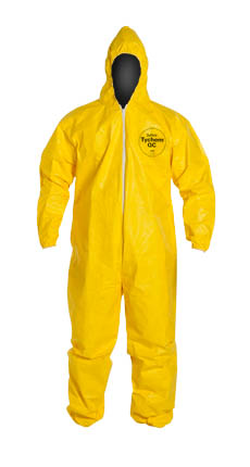 DuPont™ Tychem® QC Coverall, QC127SYL DuPont™ Tychem® QC Disposable Chemical-Resistant Protective Coveralls w/ Hood/Elastic, high vis yellow color