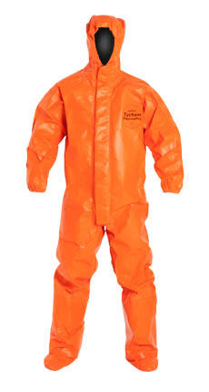 DuPont™ Tychem® ThermoPro Coverall. Certified to NFPA 1992, NFPA 2112, and the Category 2 Requirements of NFPA 70E. Respirator Fit, Drawstring Hood. Elastic Wrists. Attached Socks with Outer Boot Flaps. Double Storm Flap with Hook & Loop Closure. Taped Seams. Orange.