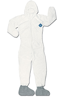 TY122SWH Dupont™ Tyvek® Disposable Protective Coveralls with Hood and Gray FC booties