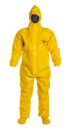 BR128TYL DuPont™Tychem® BR Disposable Chemical-Resistant Protective Coveralls w/ Hood & Booties, High Vis Yellow
