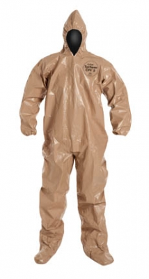 DuPont™ Tychem® CPF 3 Protective Coveralls w/ Hood & Socks. Tan.